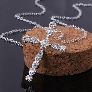 Cross 925 Silver Women White Sapphire Necklace